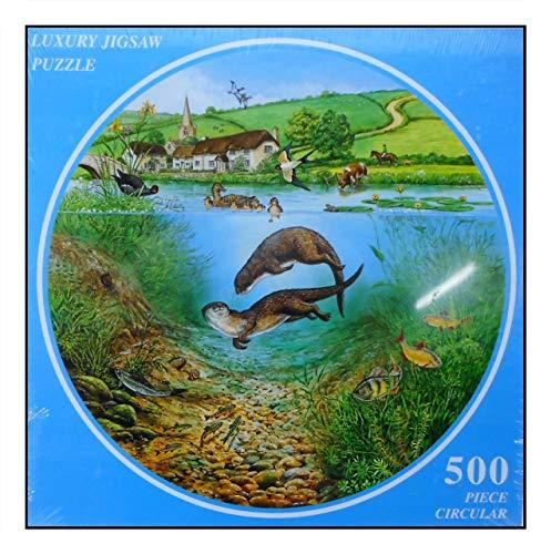 N / A James Hamilton - Puzzle rotondo 500 T, diametro 48 cm, con anatra, cavallo, mucca, uccello, fattoria, The River in Summer 5007