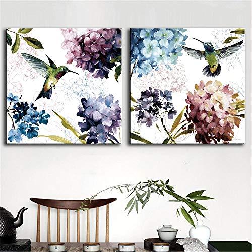 tzxdbh 2 Teile/Satz Blumenmalerei Leinwand Drucke Abstrakte Hortensie und Vogel Wandkunst Dekorative Bild für Wohnzimmer Wohnkultur