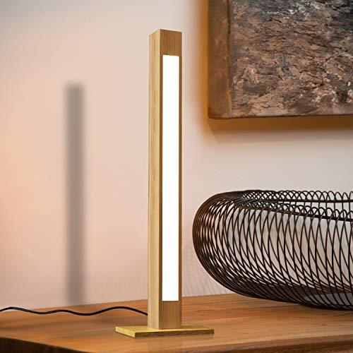 ZMH LED lámpara de mesa madera 47CM lámpara de escritorio regulable 5W LED lámpara de noche, 400 lúmenes, lámpara de lectura led con enchufe para dormitorio, sala de estar, oficina, dormitorio