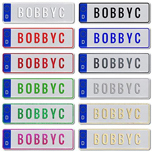 TEILE-24.EU Malinowski Bobby Car Kettcar Tretauto Namensschild Junior Kennzeichen Kidsplate BobbyCar nach ihrem Wunsch geprägt Größe 290mm x 75mm