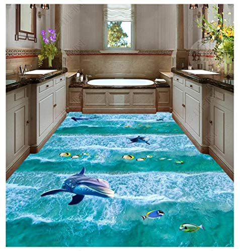Aangepaste foto behang 3D vloeren waterdichte zelfklevende muurschilderingen Beach Beach Spray Surf 3D vloertegels vloer schilderijen Decor 250cm(L) x180cm(W)
