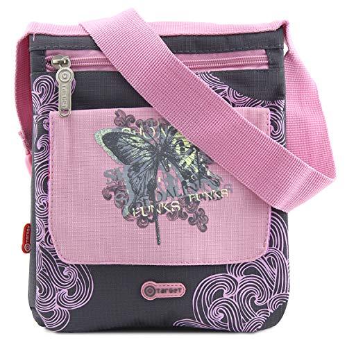 Target Sac à bandoulière gris avec des ornements roses avec motif papillon 23 cm