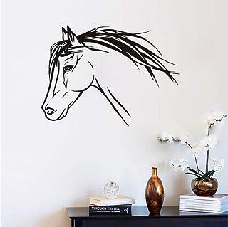 Lkfqjd Lovely Horse Head Pegatinas De Pared Para Habitaciones De Niños Decoración De Pared Silueta De