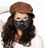 Dilara Maske mit Motiv Katzenmund aus 100% Baumwolle für Gesicht - Baumwollmaske in schwarz mit...