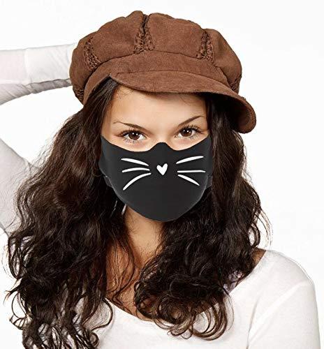 Dilara Maske mit Motiv Katzenmund aus 100% Baumwolle für Gesicht - Baumwollmaske in schwarz mit Katzenpfote waschbar bis 90 Grad Stoff (Katze Mund)