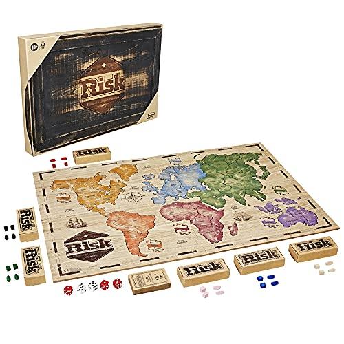 Hasbro Gaming- Risk, edición rústica de Madera, Juego de Mesa de Estrategia, versión Francesa, de 2 a 6 Jugadores, C2322101