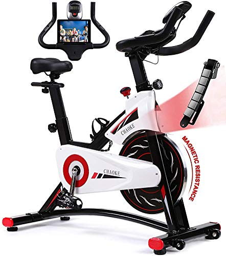Exercise Bike, CHAOKE Indoor Cycling Bike, Stationary Bike Magnetic Resistance Whisper Quiet for Home Cardio Workout Heavy Flywheel & Comfortable Seat with Digital Monitor (New Version)