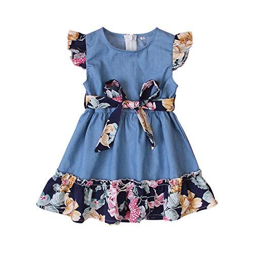 JERFER Kinder Baby Mädchen Denim Patchwork Blumen Prinzessin Kleid Outfits Kleider