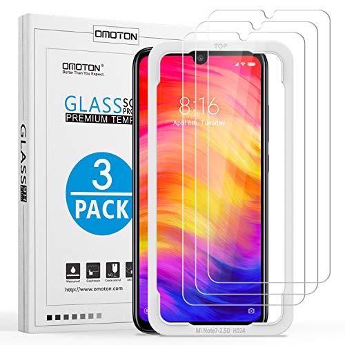 [3 Stück] OMOTON Panzerglas Schutzfolie für Xiaomi Redmi Note 7/ Note 7 Pro/ Note 8,mit Positionierhilfe, Anti- Kratzer, Bläschenfrei,9H Festigkeit, HD-Klar, [2.5D R&e Kante]