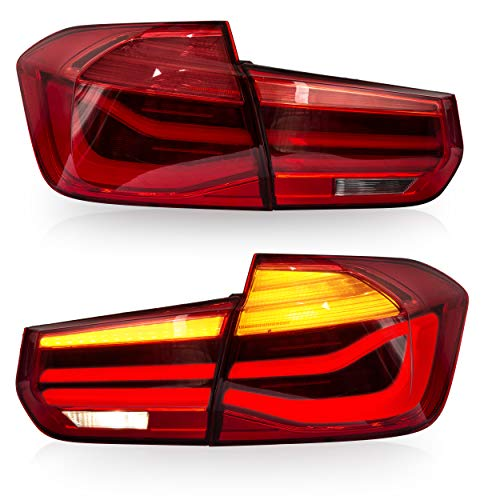 VLAND Tail lights Assembly Fit for 13-15 BMW 3 Series F30 320i 335i 328i M3 2013 2014 2015, with Sequential Turn Signal, Reverse Lights, LED DRL light, Plug-and-play, Red