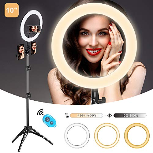 """10"""" Selfie Ring Light with Tripod Stand and 3 Phone Holder for TikTok/YouTube/Photography/Live/Makeup, Mountdog LED Circle Lights for iPhone, Android, 3 Light Modes & 11 Brightness Level"""