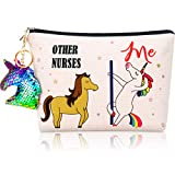 Nurse Cosmetic Bag Other Nurse Me Makeup Bag Cosmetic Travel Pouch Bag with Zipper and Flip Sequin Unicorn Keychain for Nurse, Coworker, Friend, Women, Practitioner Supplies
