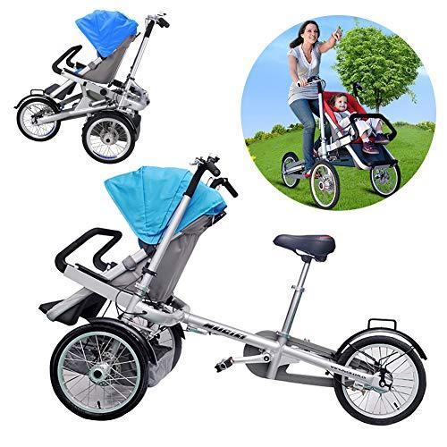 Fly 3-Rad-Fahrrad Zusammenklappen 2 in 1 Kombi-Kinderwagen Eltern-Kind-Auto-Baby-Kind Leicht Zusammenklappbar Faltbarer Anti-Schock-Hochsichtwagen Can Sit-and-Ride Fahrmodus + Kinderwagen-Modus,Blau