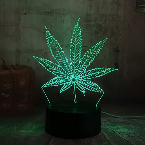 wangZJ Weed Cannabis Leaf / 3d Illusion Night Light/Regalo navideño/Luz nocturna/Regalo para niños/Regalo navideño/Luz nocturna de 7 colores/táctil
