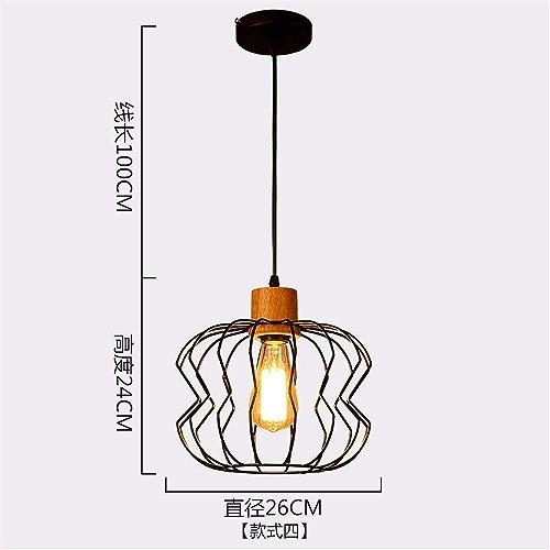 Suspension lustre en fer forgé simple pour café de restaurant Longueur de fil suspendu réglable 100 cm de diamètre 26  24 cm