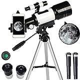 Yingzhi Astronomisches Teleskop,70 mm Apertur und 300 mm Brennweite HD Refraktor Teleskop,15x-150x Vergrößerung mit Adjustable Stativ,Ideal für Kinder und Anfänger Erwachsene(Teleskop)