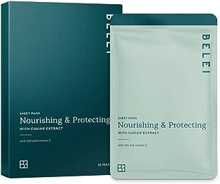 Amazon-merk: Belei – verzorgend, beschermend en druppelvrij hydrogelmasker met kaviarextract, verpakking van 10 stuks
