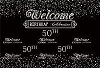 Qinunipoto 2.1m x 1.5m ビニール 背景布 写真撮影用写真の背景50年誕生日を祝う黒背景母父50歳の誕生日背景お祝いパーティーの肖像画フォトスタジオブースの背景小道具