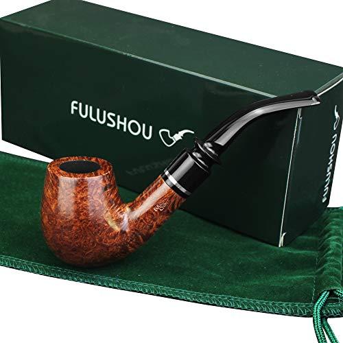 FULUSHOU Mediterranean Briar Wood Tobacco Pipe, Simple Mini Bend Tobacco Pipe,Dad Gift