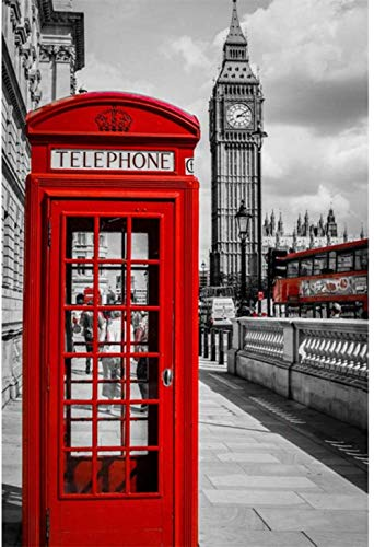 Rompecabezas 1000 piezas de rompecabezas de madera Rompecabezas para adultos rompecabezas Cabina telefónica roja The London Street View Rompecabezas de madera para niños Panorama Art DIY Juego de oc