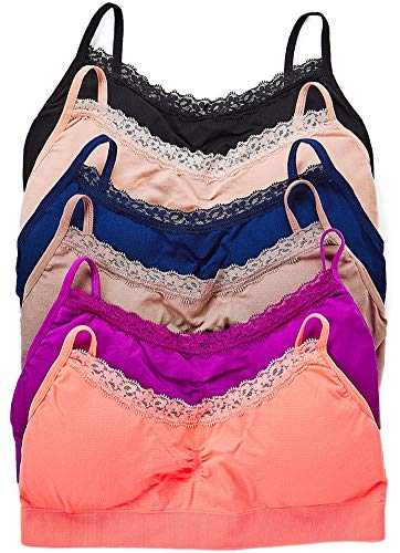 ToBeInStyle Women's Pack of 6 Nylon Wire-Free Padded Sport Bralettes (Peachy)