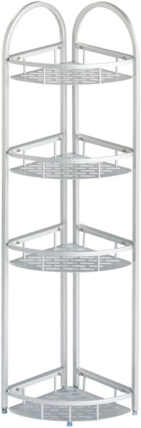 Storage Rack 4 Layers of Aluminum Alloy Silver Floor Stand Corner Bathroom Shelf