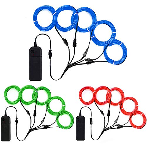 TGHCP-3 Pack 5 by 1 Neon Light Electroluminescence EL Wire Kits (Blue,Green,Red)