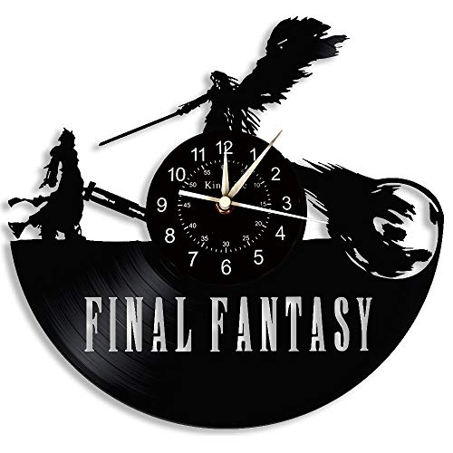 Final Fantasy Clock Reloj de Pared con Disco de Vinilo LED Reloj de Pared 7 Colores Reloj de Pared Luminoso Regalo Creativo para niños y Amigos