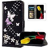 JAWSEU - Custodia a portafoglio in pelle PU per Huawei P40, con brillantini, motivo floreale, Glitter nero.