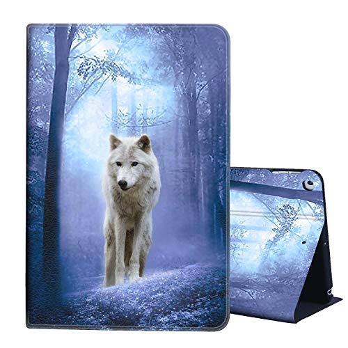 AIRWEE Case for iPad 7th Generation 10.2' 2019 / iPad 10.2 Case Multiple Viewing Angles Smart Shell Stand Cover with Auto Wake/Sleep for iPad Air 2019,White Wolf in Forest
