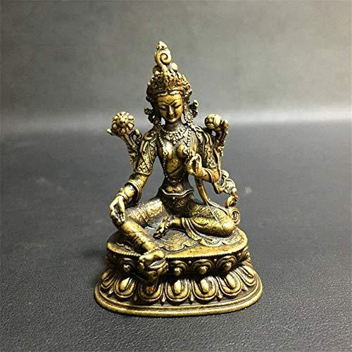 WZ YDTH Solid Copper Mini Copper Carved Green Tara Bodhisattva Buddha Statue Feng Shui Miniatures Figurines Home Decor Car Ornaments