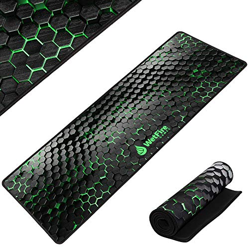 Extended Gaming Mouse Mat/Pad - XL Large, Wide (Long), Stitched Edges | 37.4W x 13L, 5mm Thickness (Black_Green)