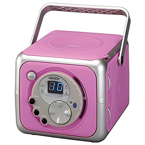 Jensen CD-555 Pink CD Bluetooth Boombox Portable Bluetooth Music System with CD Player +CD-R/RW & FM Radio with Aux-in & Headphone Jack Line-in Limited Edition (Pink)