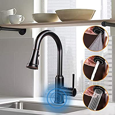Touchless Kitchen Sink Faucets with Pull Down Sprayer, Kitchen Faucet with Pull Out Sprayer Single-Hole and 3 Hole Deck-Mount,3 Mode Single Handle Matte Black Easy to Install, Spot Resist…