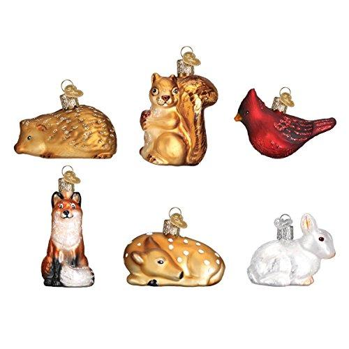 Old World Christmas Glass Blown Ornaments for Christmas Tree, Mini Woodland Animal Set