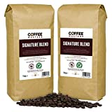 Coffee Masters Signature Blend Coffee Beans 2 x 1kg - 100% Arabica Coffee Beans - Medium Roast Whole Coffee Beans Ideal for Espresso Machines and Filter Coffee - Rainforest Alliance Accredited
