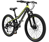 Bikestar bicicleta de montaña de aluminio bicicleta juvenil 24 pulgadas de 10 a 13 años | cambio shimano de 21 velocidades, freno de disco, horquilla de suspensión | niños bicicleta negro verde