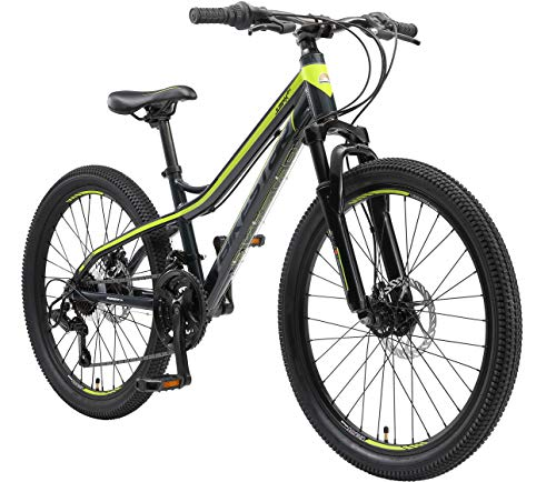 BIKESTAR MTB Mountain Bike Alluminio per Bambini 10-13 Anni | Bicicletta 24 Pollici 21 velocità Shimano, Hardtail, Freni a Disco, sospensioni | Antracite e Verde