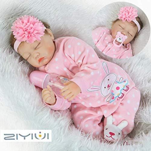 ZIYIUI 55cm Muñeco Bebé Reborn Muñecas Niña Ojos Cerrados Bebe Realista Baby Doll Silicona Vinilo Dormir Toddler Magnetismo Juguetes