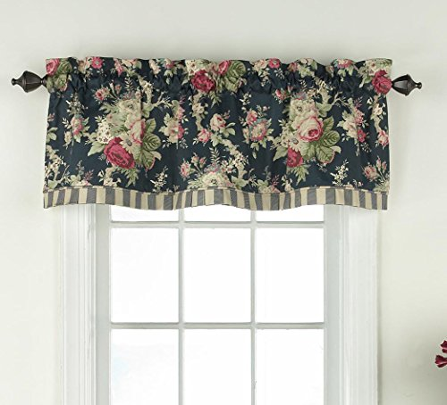 """WAVERLY Sanctuary Rose 60"""" x 18"""" Short Valance Small Window Curtains Bathroom, Living Room and Kitchens, Heritage Blue"""