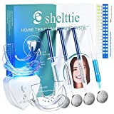 SHELTTIE Teeth Whitening Kit with LED Light - Home Professional Teeth Whitening Light for Sensitive Teeth, with 35% Hydrogen Peroxide Whitening Gel, Desensitizing Gel, 6 Button Batteries, 2 Trays