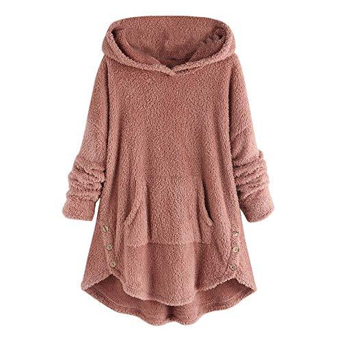 YEBIRAL Damen Kapuzenpullover Hoodie mit Kapuze Pullover Casual Winter Teddy-Fleece Langarm Oversize Blusen Sweatshirt Mantel Tops Einfarbig...