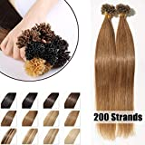 200 Mèches Extension Cheveux Naturel Keratine Pose a Chaud 100G Pre Bonded Nail U Tip Remy Human Hair Extensions - #06 Châtain clair - 40cm