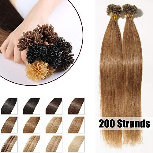100% Remy Echthaar Extensions Bondings 100g Haarverlängerung Keratin Bonding 200 Strähnen #6 hellbraun 40cm
