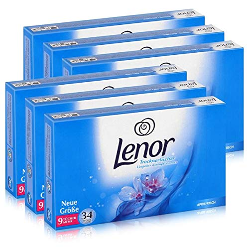 Lenor Trocknertücher Aprilfrisch 34 Tücher - Wäschepflege im Trockner (6er Pack)