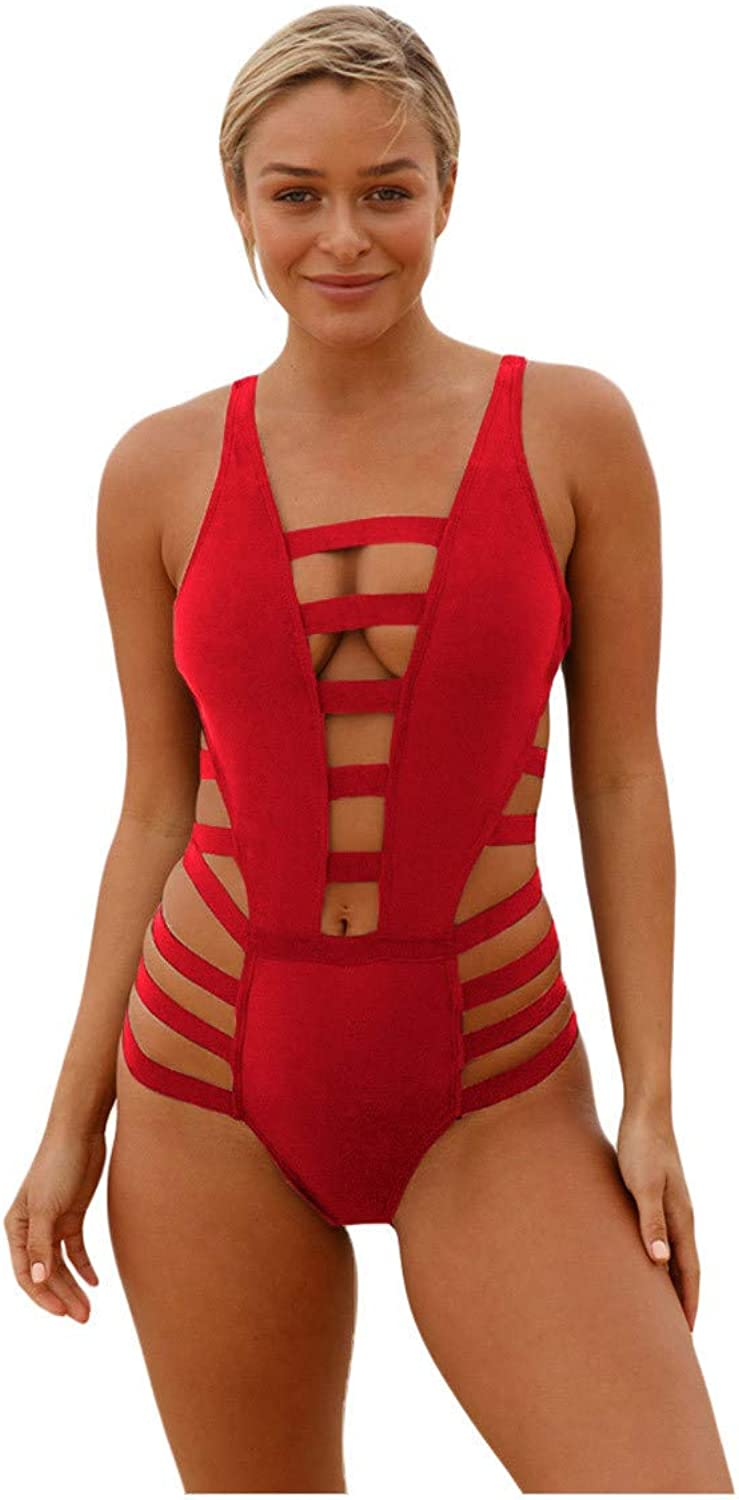 GROSSARTIG Women's Swimsuits Hollows Low Cut with Zippers and Strings Decorations High Waist OnePiece Sexy Bikini (color   Red, Size   M)