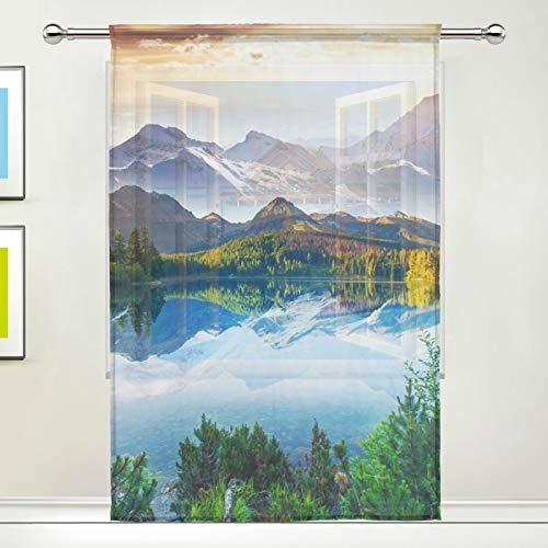 "TropicalLife iRoad Semi Sheer Curtain Nature Forest Tree Landscape Voile Window Curtain Drapes for Living Room Bedroom Door Kitchen Cafe 55' Wx78"" L, 1 Panel"