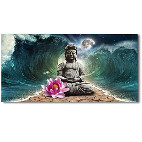 PYABL Wall Art Living Room Buddha Canvas Wall Art Waves Pictures Prints Paintings Wall Decor Art Artworks Giclee Modern Home Decor For Living Room Bedroom Stretched Ready to Hang - 20x40x1pcs Inches