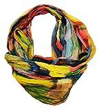 JameStyle26 Gradiente de seda de verano con efecto de arcoíris de seda, bufanda redonda y ligera #2 amarillo. Talla única