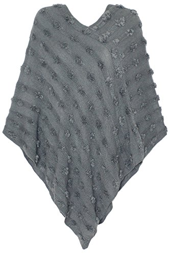 dy_mode Eleganter Damen Poncho Pullover Strickponcho im Punkt-förmigen Strick-Muster u.v.m. - 5 Farben - PJ023 (PJ023-Grau)